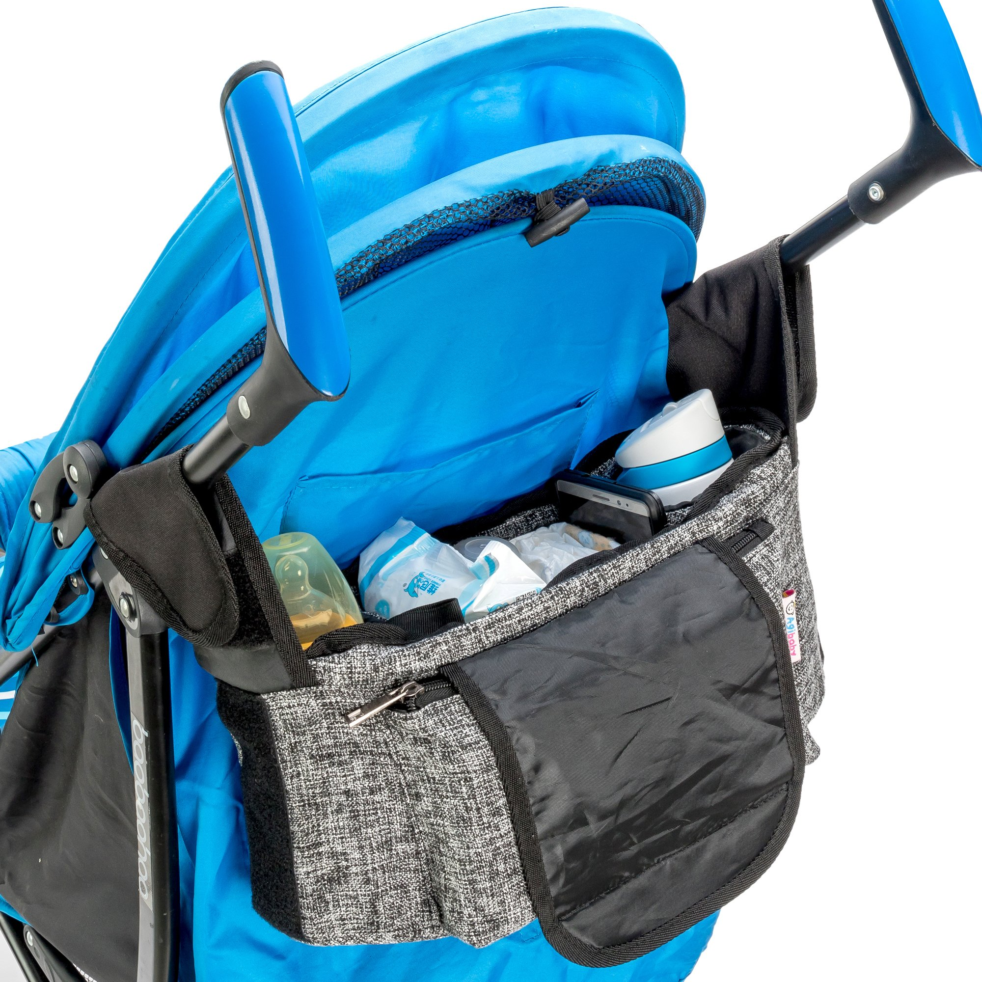 Agibaby Stroller Organizer, Insulated Deep Cup Holders, Instant Access Wipe Pocket, Universal Strap Fit, Large Storage Space by Agibaby (Image #4)