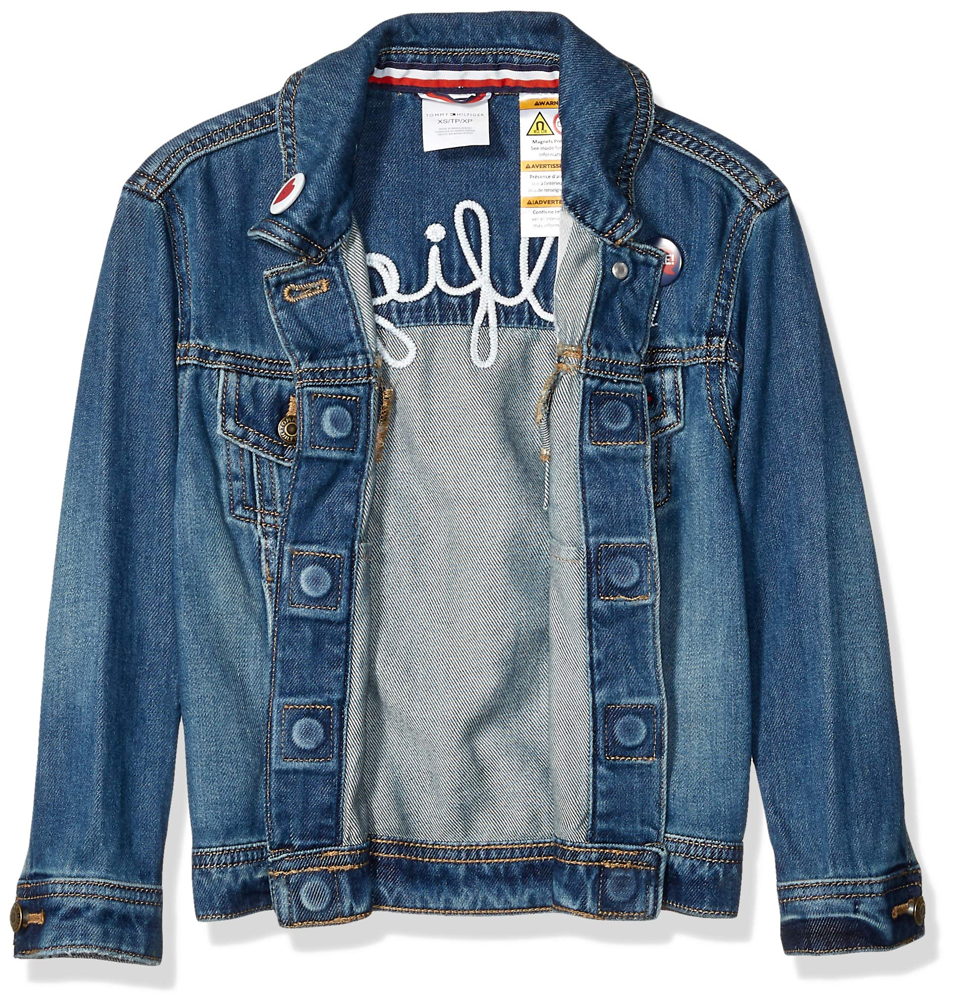 Tommy Hilfiger Girls' Adaptive Jean Jacket with Magnetic Buttons, Vegas Wash S by Tommy Hilfiger (Image #3)