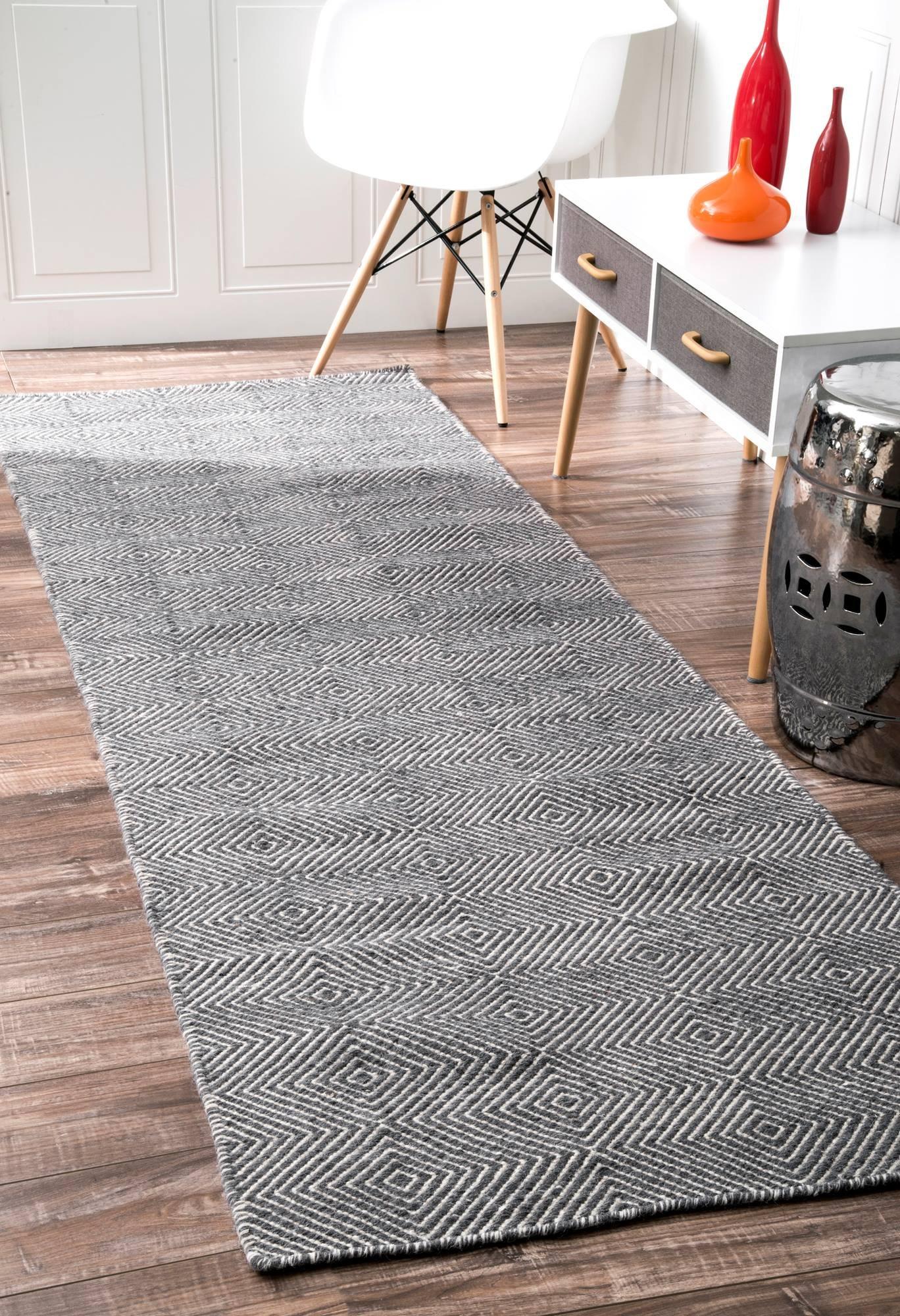 nuLOOM Handmade Fancy Trellis Wool Paddle Runner Area Rugs, 2' 6'' x 8', Grey by nuLOOM (Image #1)