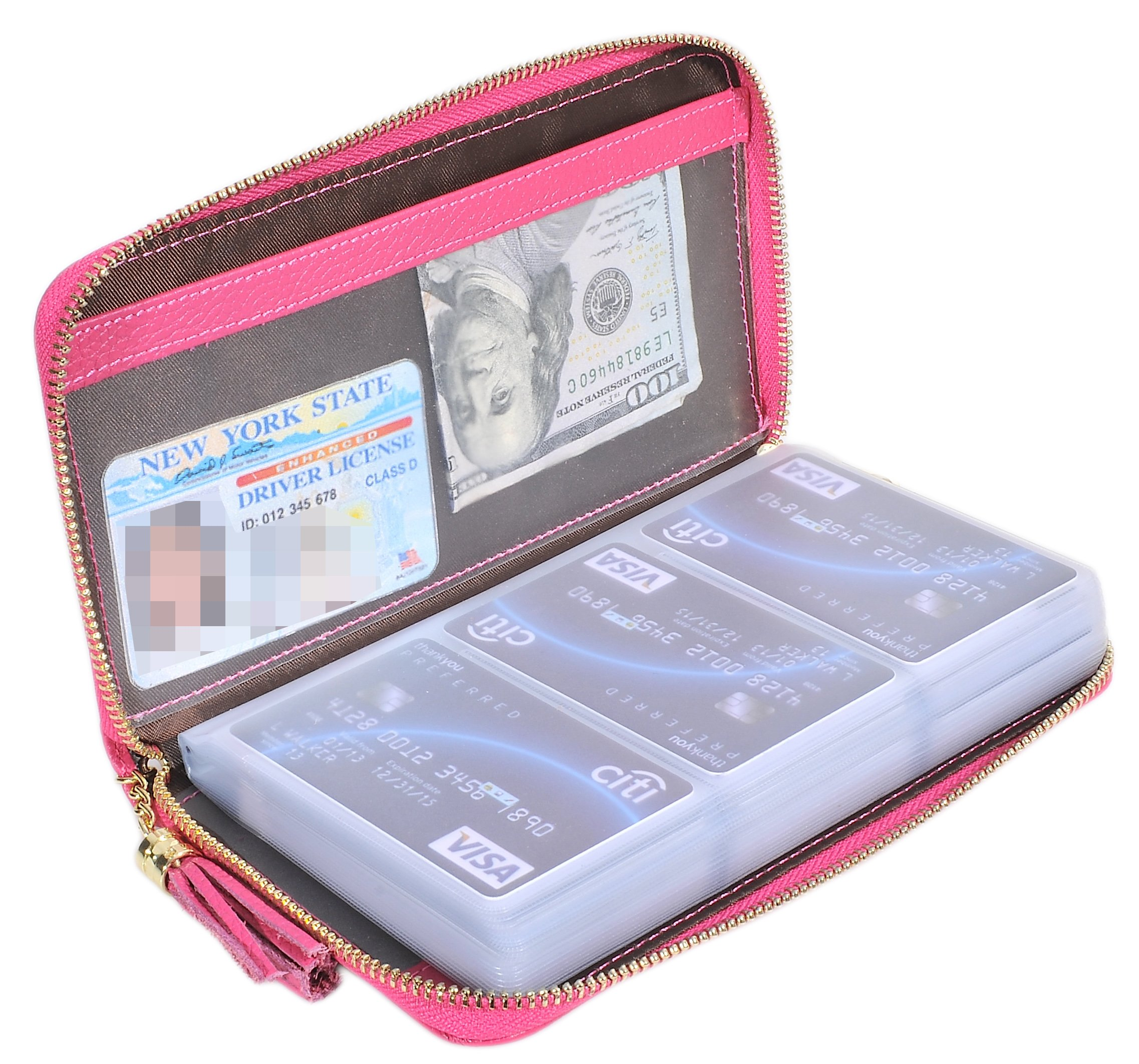 Easyoulife Credit Card Holder Wallet Womens Zipper Leather Case Purse RFID Blocking (Rose)