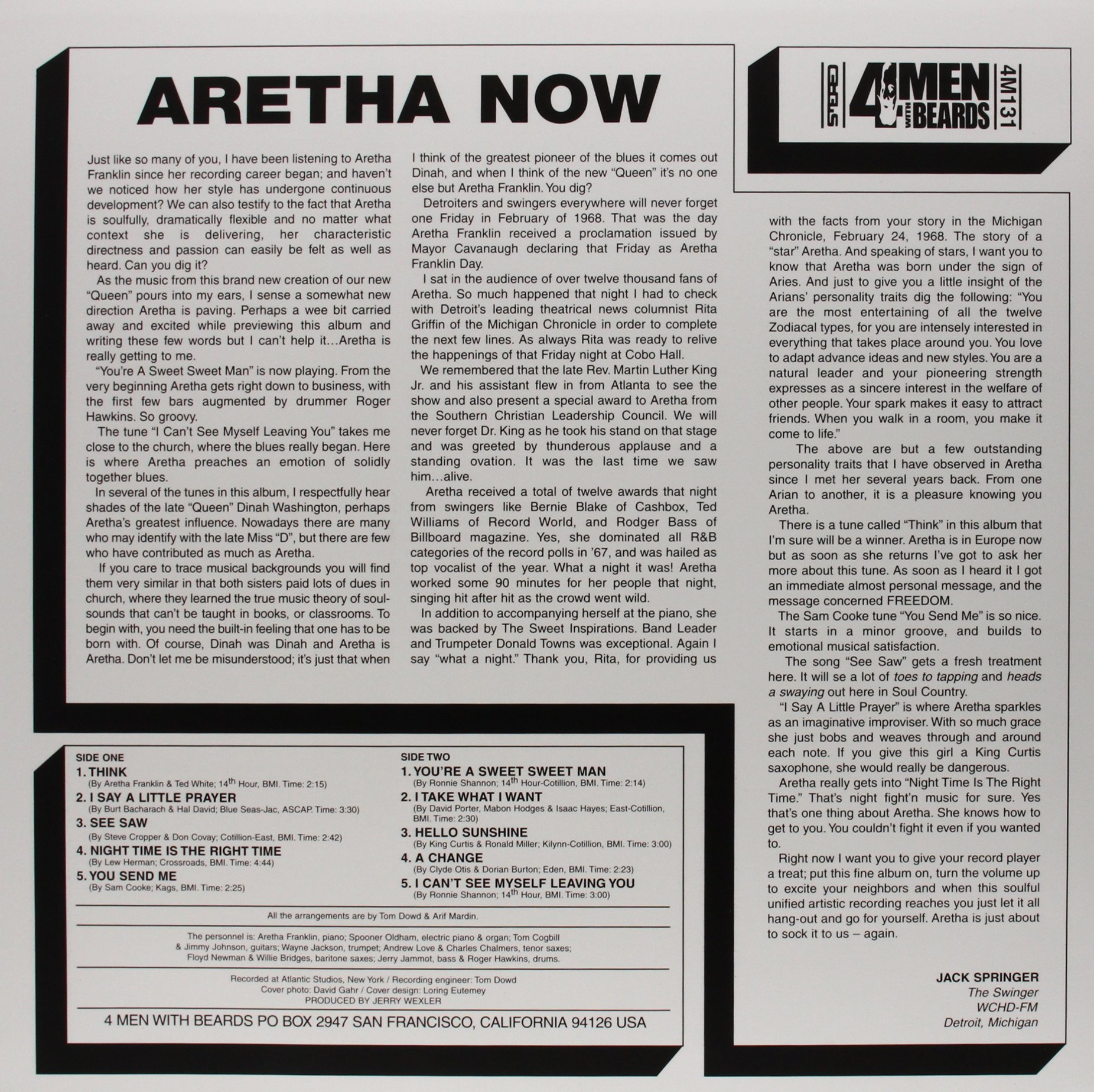 Aretha Now (180 Gram Vinyl) by 4 Men with Beards