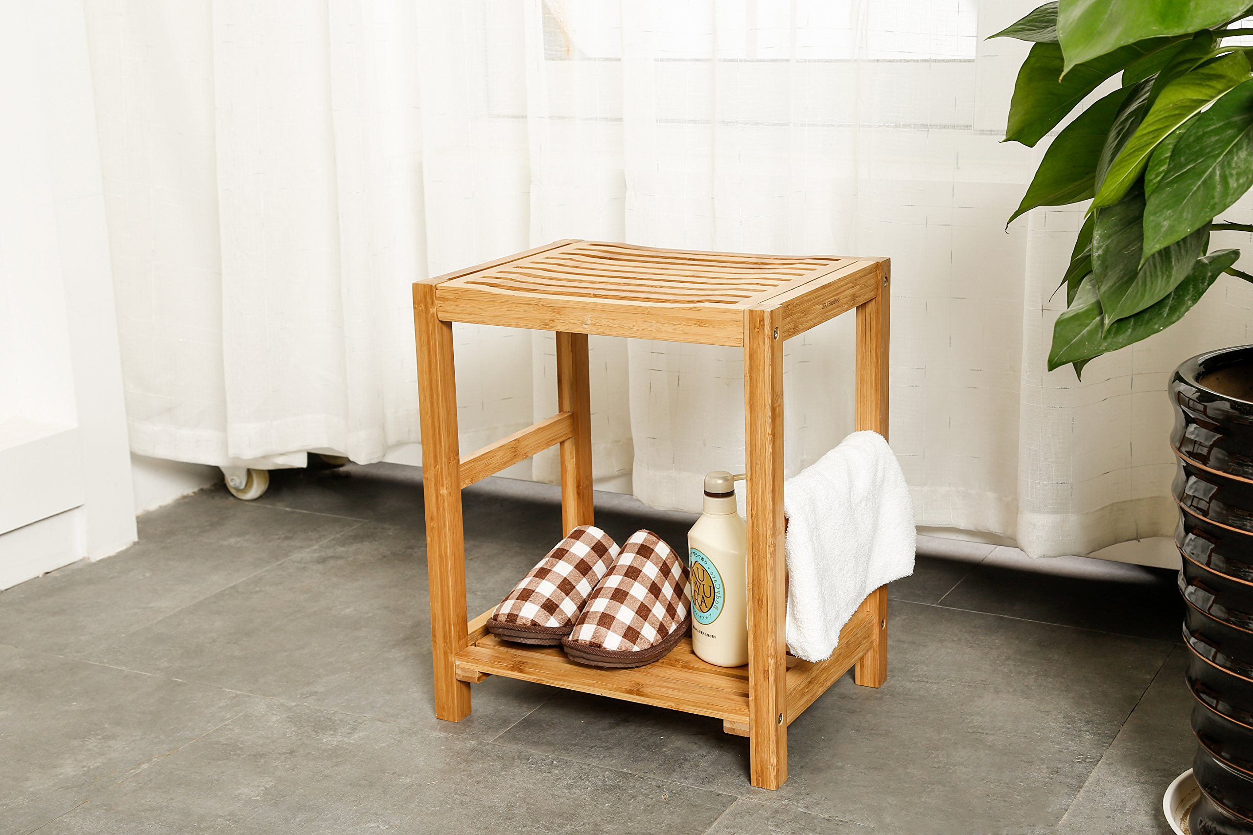 Natural Bamboo Shower Bench Seat, Shaving Stool, Spa Bath Bench with ...