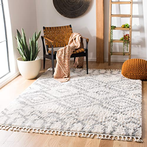 Safavieh Berber Fringe Shag Collection BFG611A Cream and Grey 10' x 14' Area Rug