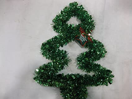 Amazon.com: Green Tinsel Garland Wire Christmas Tree Wall Decoration ...