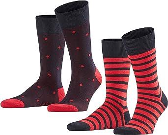 Gemusterte Socken im Zweierpack für Herren in Schwarz