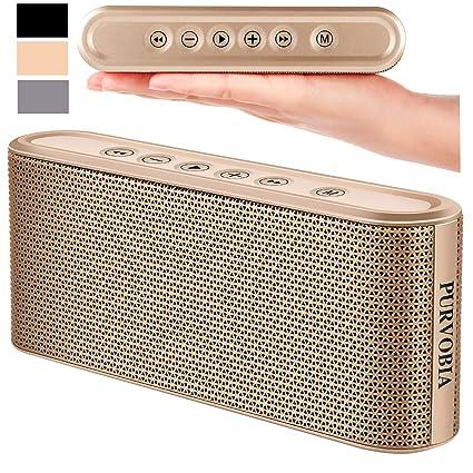 PURVOBIA Ultra Thin Slim Bluetooth Speaker – Bluetooth 5 0 Wireless Speaker  Mini Portable Player Deep Bass Stereo Sound | Smart Touch Control w/ 20