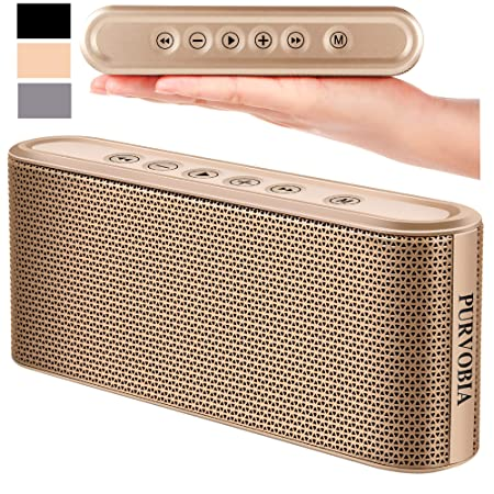 PURVOBIA Ultra Thin Slim Bluetooth Speaker Bluetooth 5.0 Wireless Speaker Mini Portable Player Deep Bass Stereo Sound Smart Touch Control w 20 Hour Playtime 5000mAh Power Bank Battery Gold