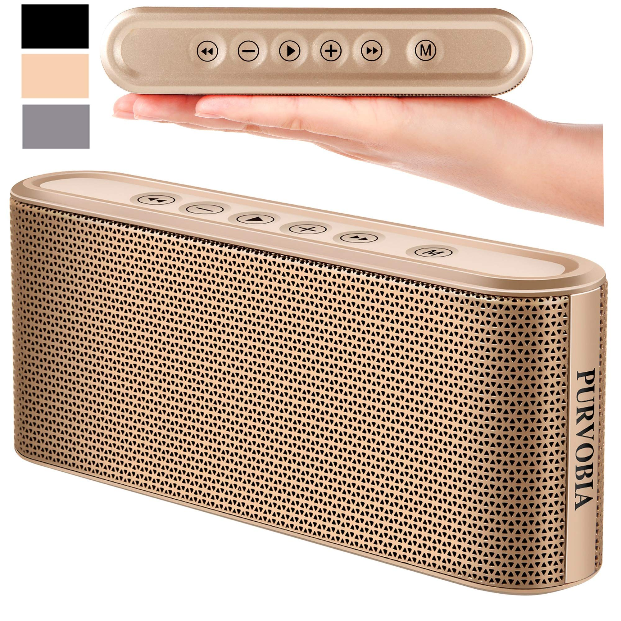 PURVOBIA Ultra Thin Slim Bluetooth Speaker - Bluetooth 5.0 Wireless Speaker Mini Portable Player Deep Bass Stereo Sound | Smart Touch Control w/ 20 Hour Playtime 5000mAh Power Bank Battery (Gold)