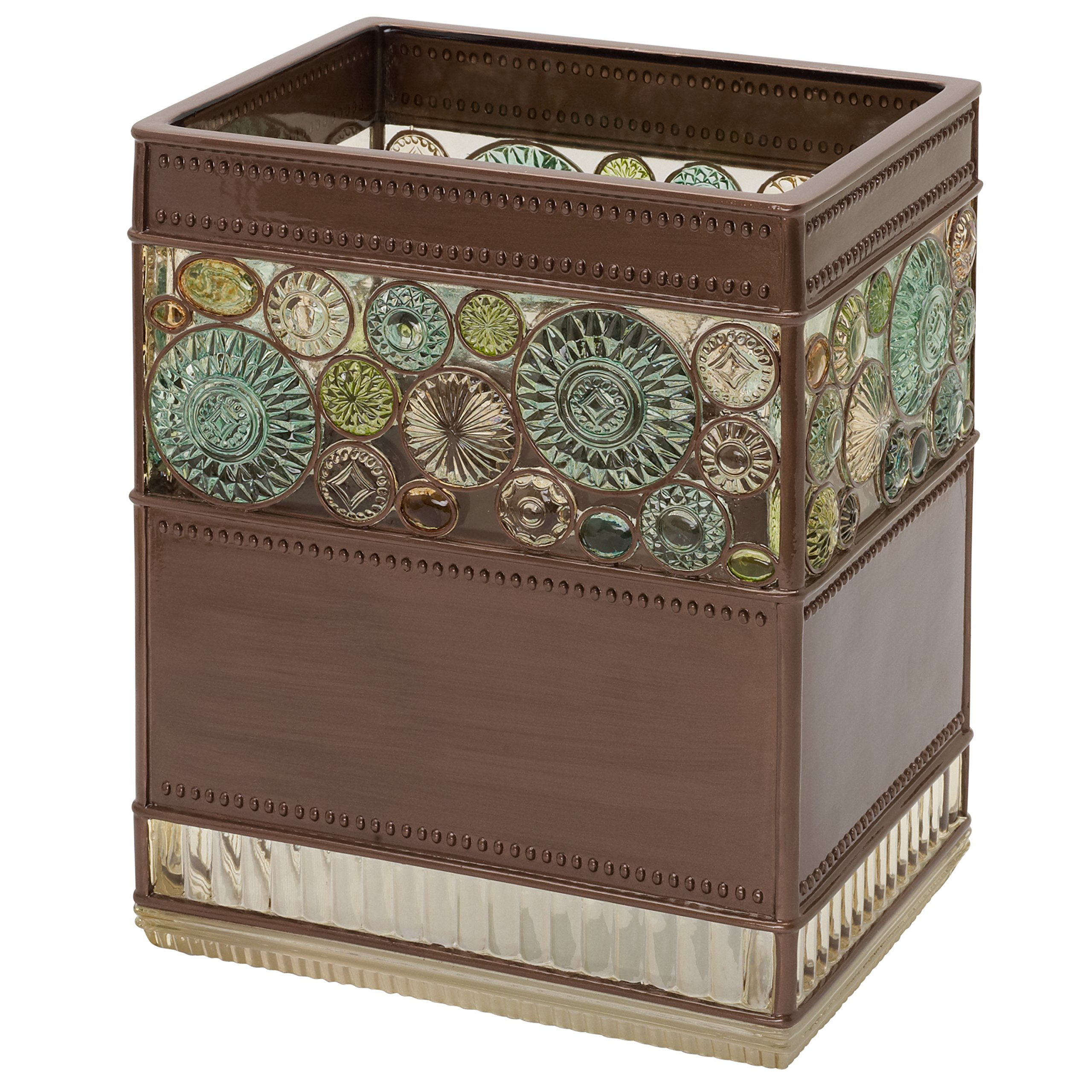 Zenna Home, India Ink Boddington Waste Basket, Bronze with Translucent Colors