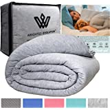 Weighted Evolution Weighted Blanket+ Bonus Organic Bamboo Duvet Cover |Pre-Assembled| Best Blanket for Adults/Kids-Hypoallerg