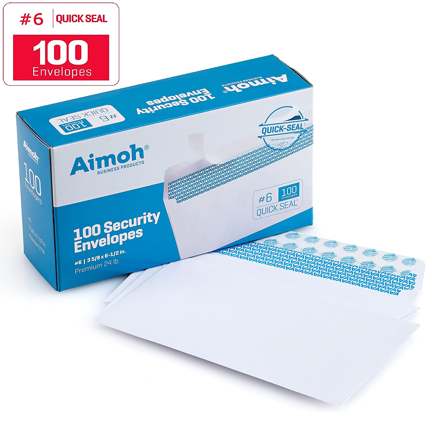 #6 3/4 Security Tinted Self-Seal Envelopes - No Window, Size 3-5/8 X 6-1/2 inches - White - 24 LB - 100 Count (34600) Aimoh