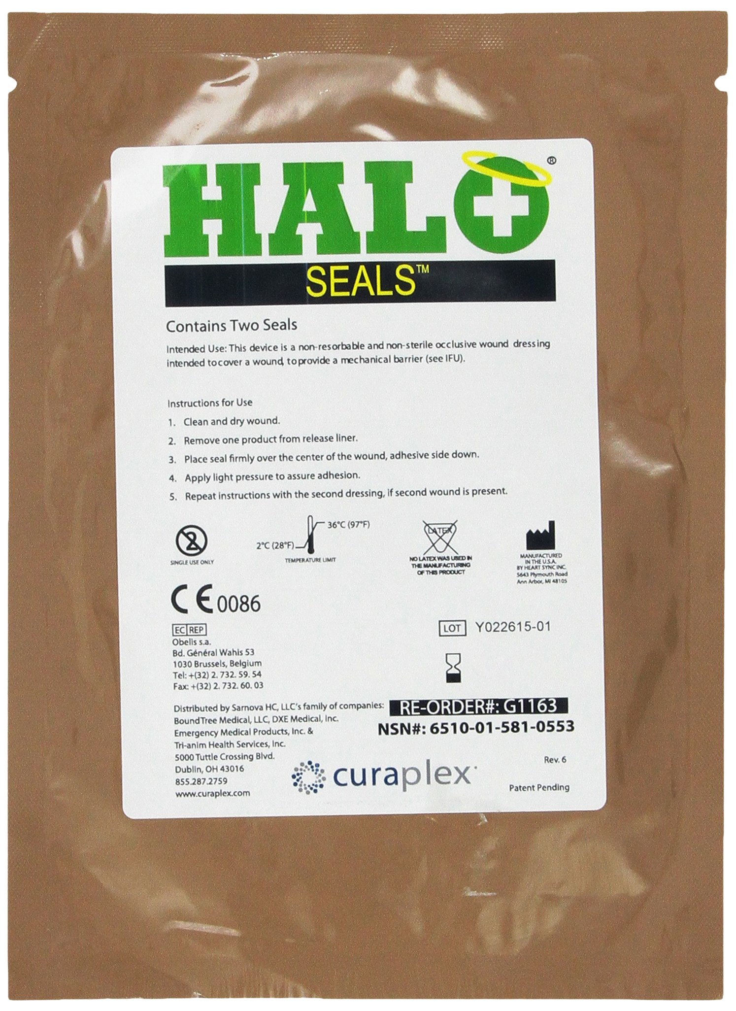Progressive Medical Halo Chest Seal High Performance Occlusive Dressing for Trauma Wounds, 2 Count