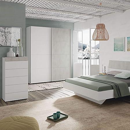 Habitdesign ARM154A - Armario Dormitorio ropero, Armario 2 Puertas correderas Color Blanco Artik y Gris Cemento, Medidas: 150 x 200 x 60 cm de Fondo