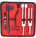 "Tactical Black - Set of 5 pcs Reflex Percussion Taylor Hammer + Penlight + Tuning Fork C 128 C 512 + Bandage Scissors 5.5"""