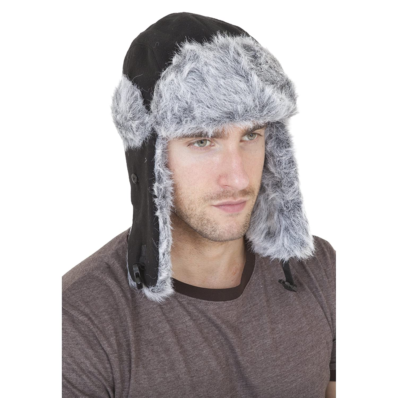 Herren Fleece-Mütze / Ski-Mütze mit Kunstfell-Besatz