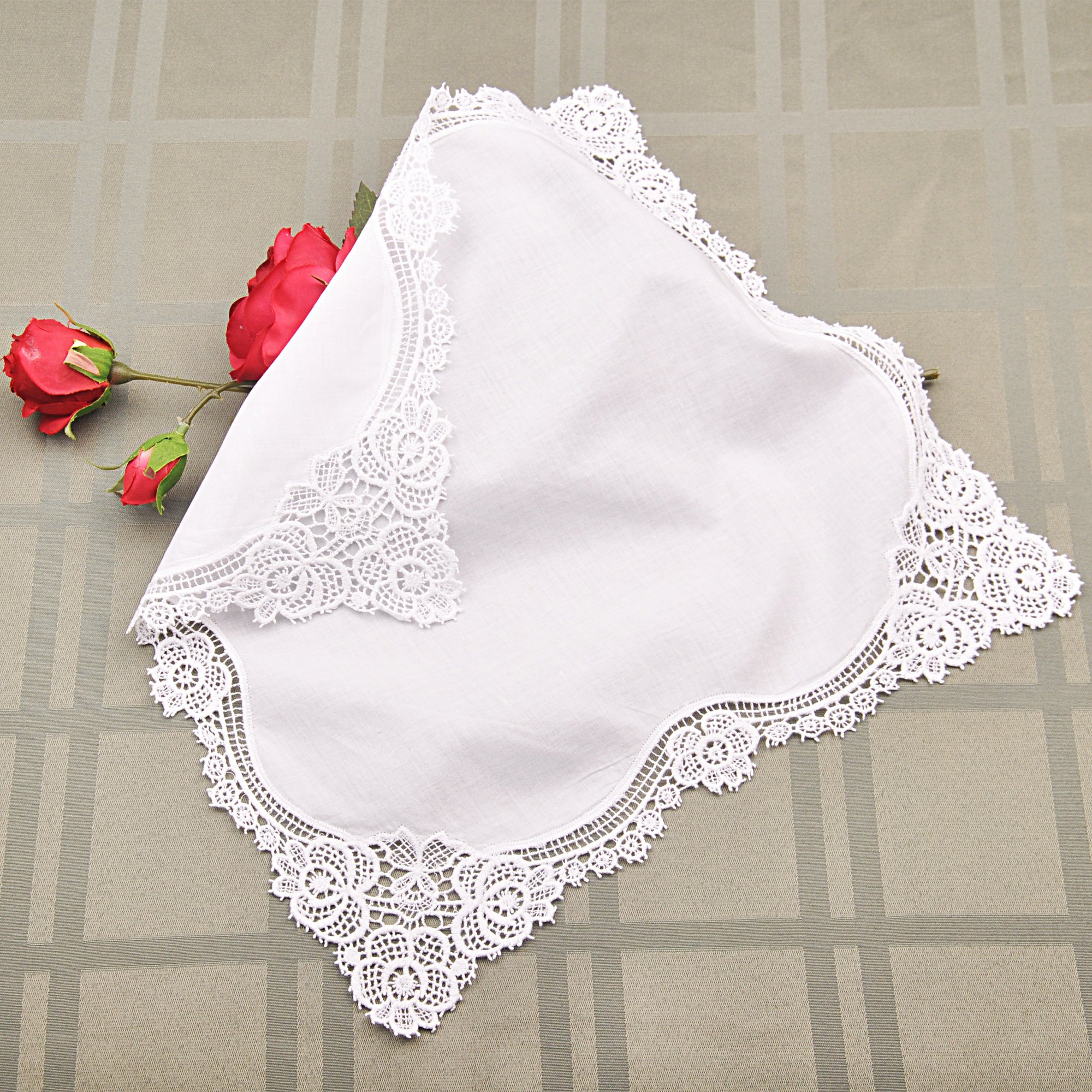 Milesky Bridal Wedding Crochet Lace Handkerchief Premium 60S Cotton CH02 by Milesky (Image #2)