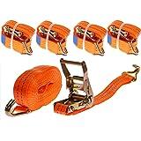 4 Stück 2000kg 6m Spanngurte mit Ratsche zweiteilig 2 teilig mit Haken Ratschengurt Zurrgurte orange 35mm 2000 daN 2t