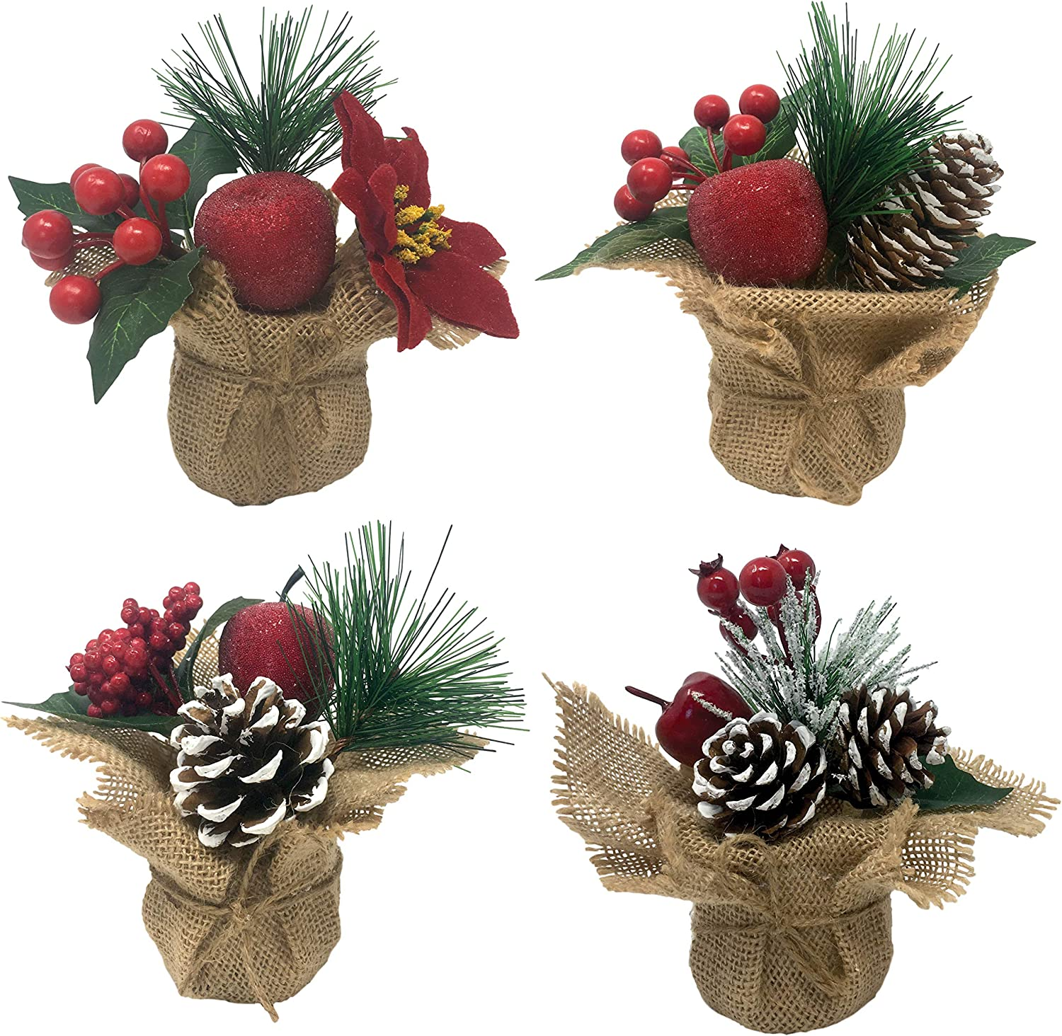 """Potted Christmas Holiday Trees - Set of 4 Burlap Base Holiday Home Decor Trees Sets - White Frosted Pinecones, Red Berries and Pine Needles - Each Stands Approx. 6"""" H"""