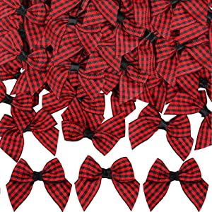30 pcs Christmas Buffalo Plaid Bows Christmas Burlap Checkered Bow DIY Fall Decoration Bows for Christmas Tree Crafts Home Decoration(Black and Red)