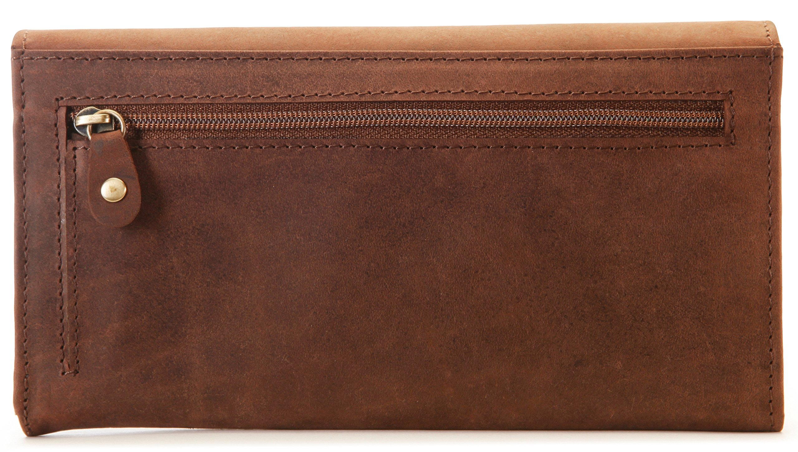 LEABAGS Charlotte genuine buffalo leather women's wallet in vintage style - Nutmeg by LEABAGS (Image #3)