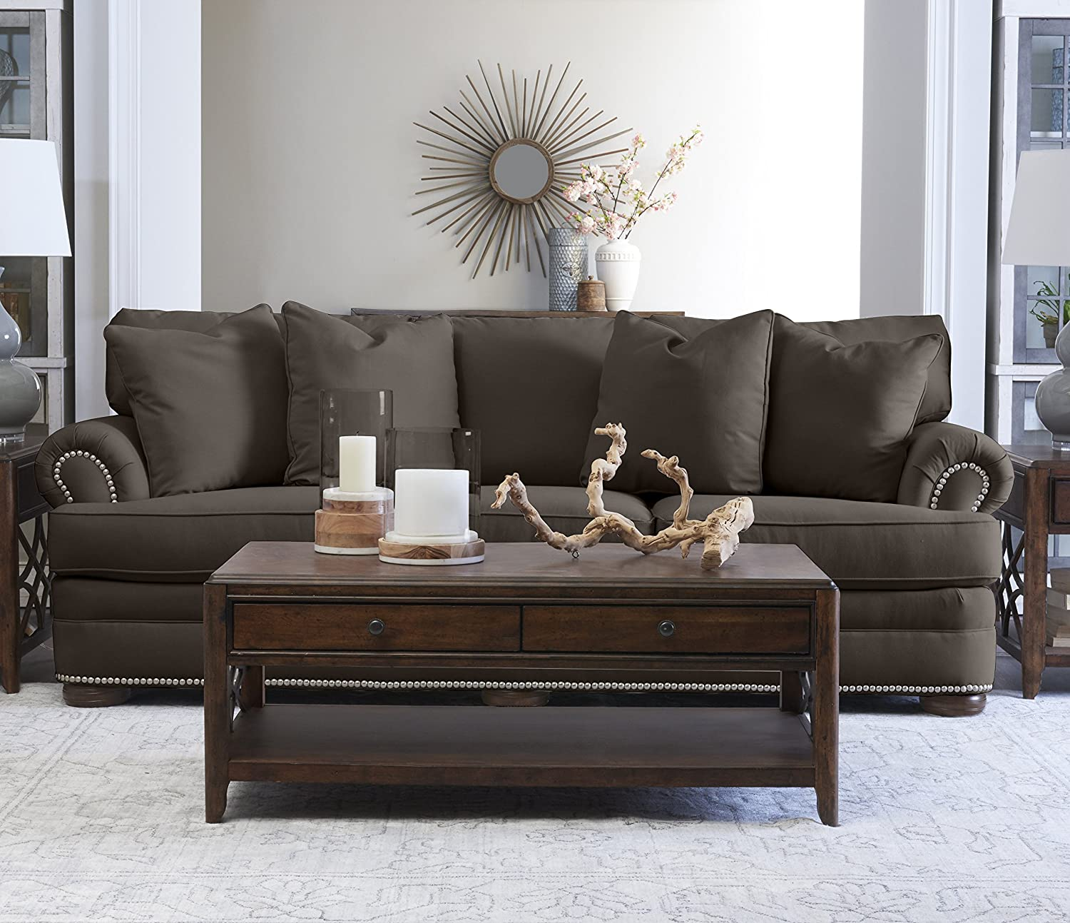 """Klaussner Home Furnishings Tilden Sofa with 4 Throw Pillows, 45""""L x 97""""W x 37""""H, Pewter"""