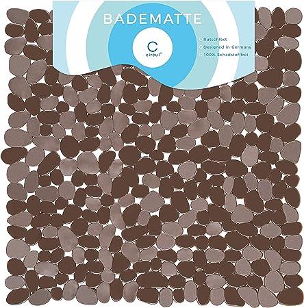 Circul Tappetino Doccia 53/x 53/cm marrone chiaro effetto pietra