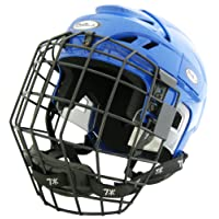 Prostar Deluxe Ice Hockey Helmets with Tool Less Size Adjustment System and Protective Face Cage, Blue, Small/Medium