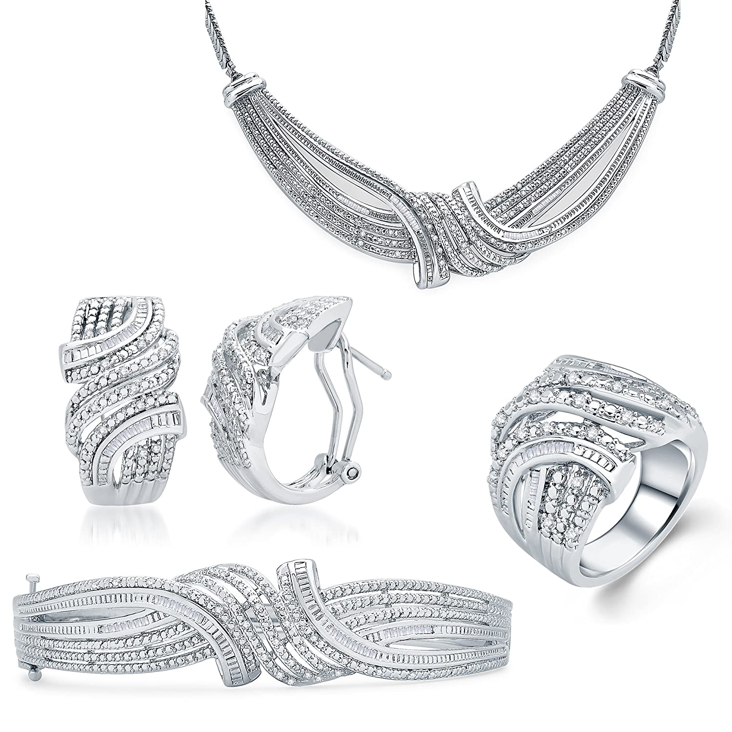 2.00 Cttw Diamond 4 Piece Jewelry Set