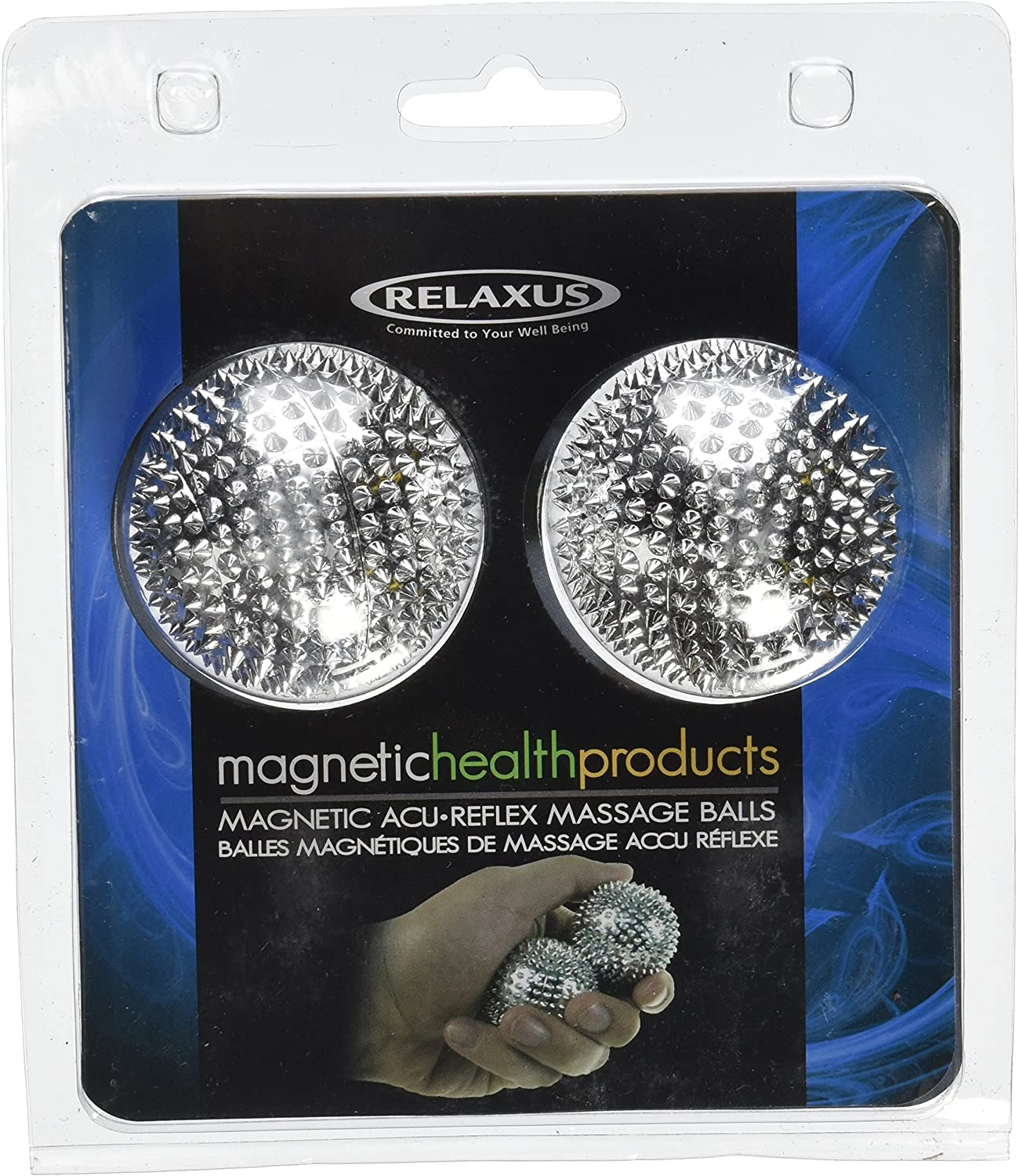 Pair Magnetic Hand Palm Acupuncture Ball Needle Massage Size M (silver)
