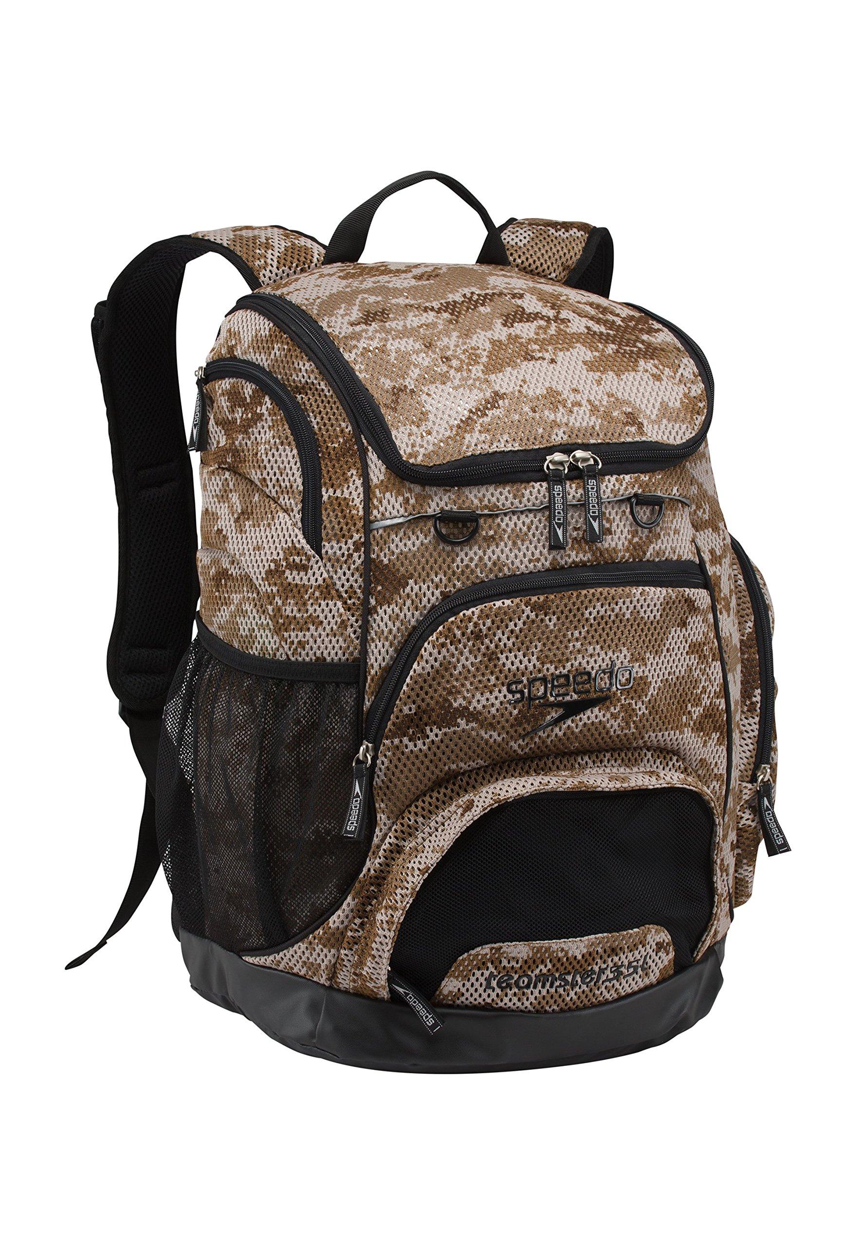 Speedo Printed Teamster 35L Backpack, Camo Mesh Brown, 1SZ