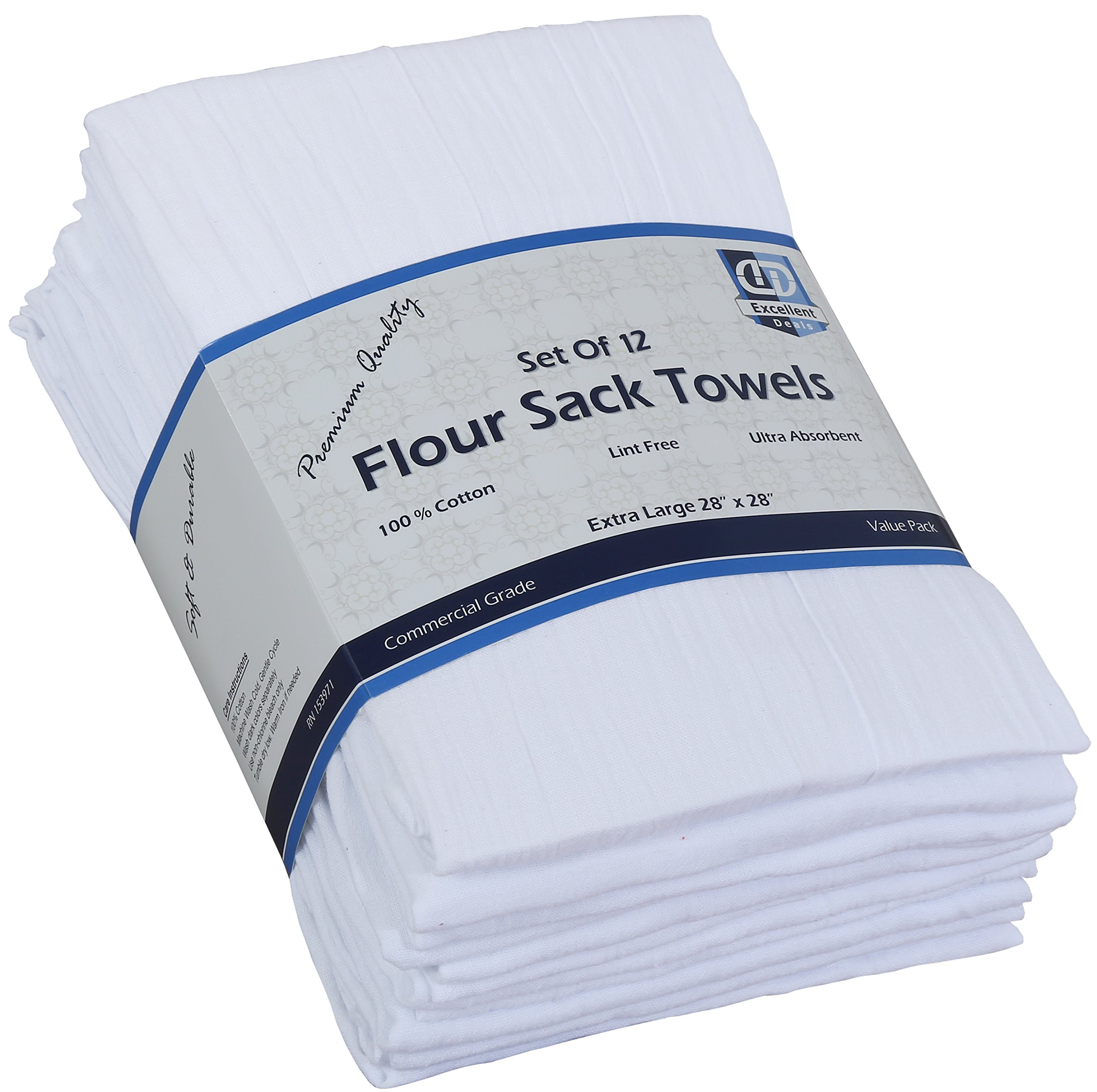 Flour Sack Kitchen Towels (White,12 Pack) 100% Cotton,28x28 Inch Cloth Napkin, Bread wrapper, Cheesecloth, Multi Purpose Kitchen Dish Towels,Bar Towels, Extremely Absorbent & Sturdy By Excellent Deals by Excellent Deals