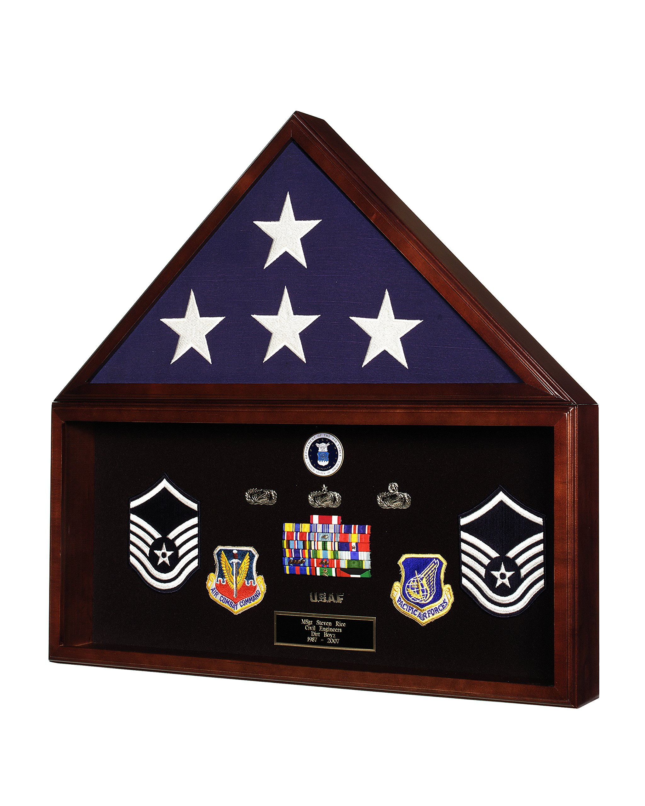SpartaCraft Military Retirement Shadow Box & Memorial American Flag Case Memorabilia Display Case Made In America. by SpartaCraft