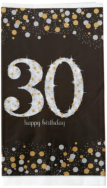 Amscan Sparkling Celebration Plastic Tablecover 30th