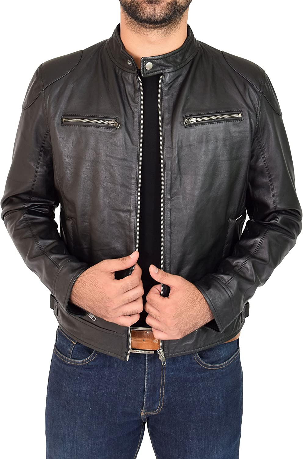 A1 FASHION GOODS Mens Black Leather Jacket Biker Style Fitted Standing Collar Casual Jacket Bill