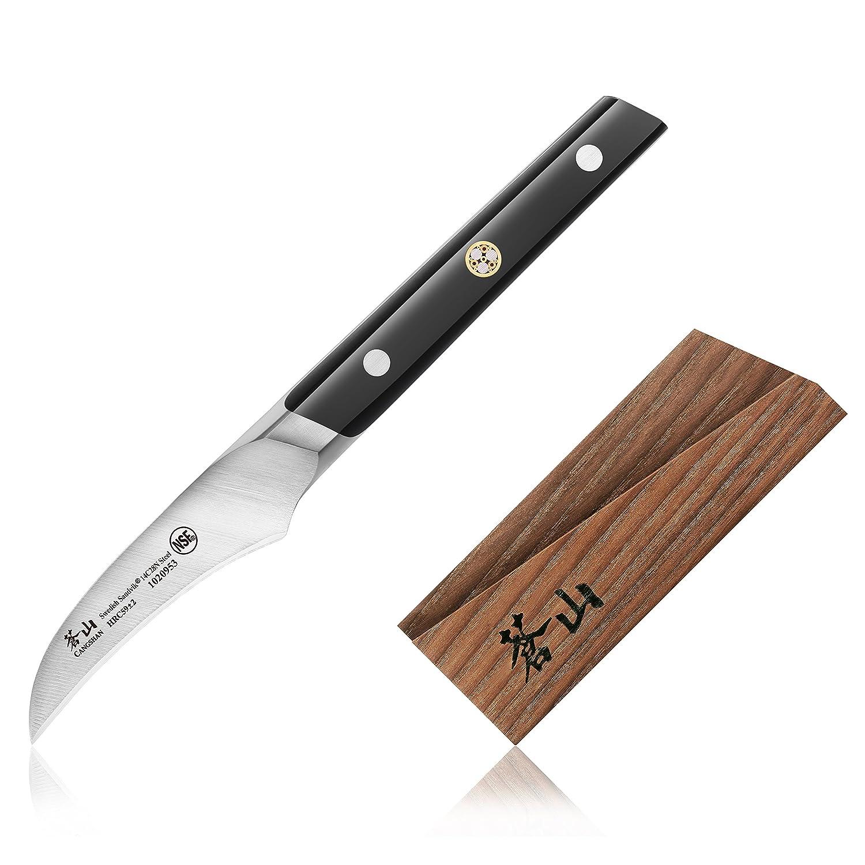Cangshan TCシリーズ1020960スウェーデンSandvik 14 C28 NスチールForged 2.75-inch皮むきナイフと木製シースセット B00E44EH8O
