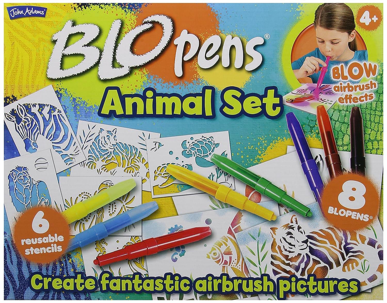 BLO pen - Gioco creativo 'Animals', include 8 pennarelli colorati e 6 stencil riutilizzabili John Adams Leisure Ltd 10049
