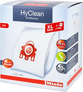 Miele Hyclean 3D Efficiency XL FJM Dustbags - 8x Miele Hyclean 3D FJM Vacuum Bags + 2x Motor Filter, 2x Super Air Clean filter