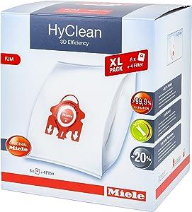 Miele Hyclean 3D Efficiency XL FJM Dustbags - 8x Miele Hyclean 3D FJM Vacuum Bags + 2x Motor Filter, 2x Super Air Clean filter
