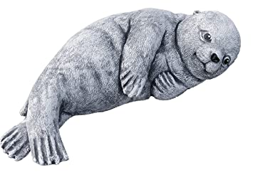 Steinfigur Seehund Robbe groß anthrazit