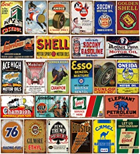 Tin Signs 26 Pieces Reproduction Vintage, Gas Oil Metal Signs, Home Kitchen Man Cave Bar Garage Wall Decor, 8x12 Inch