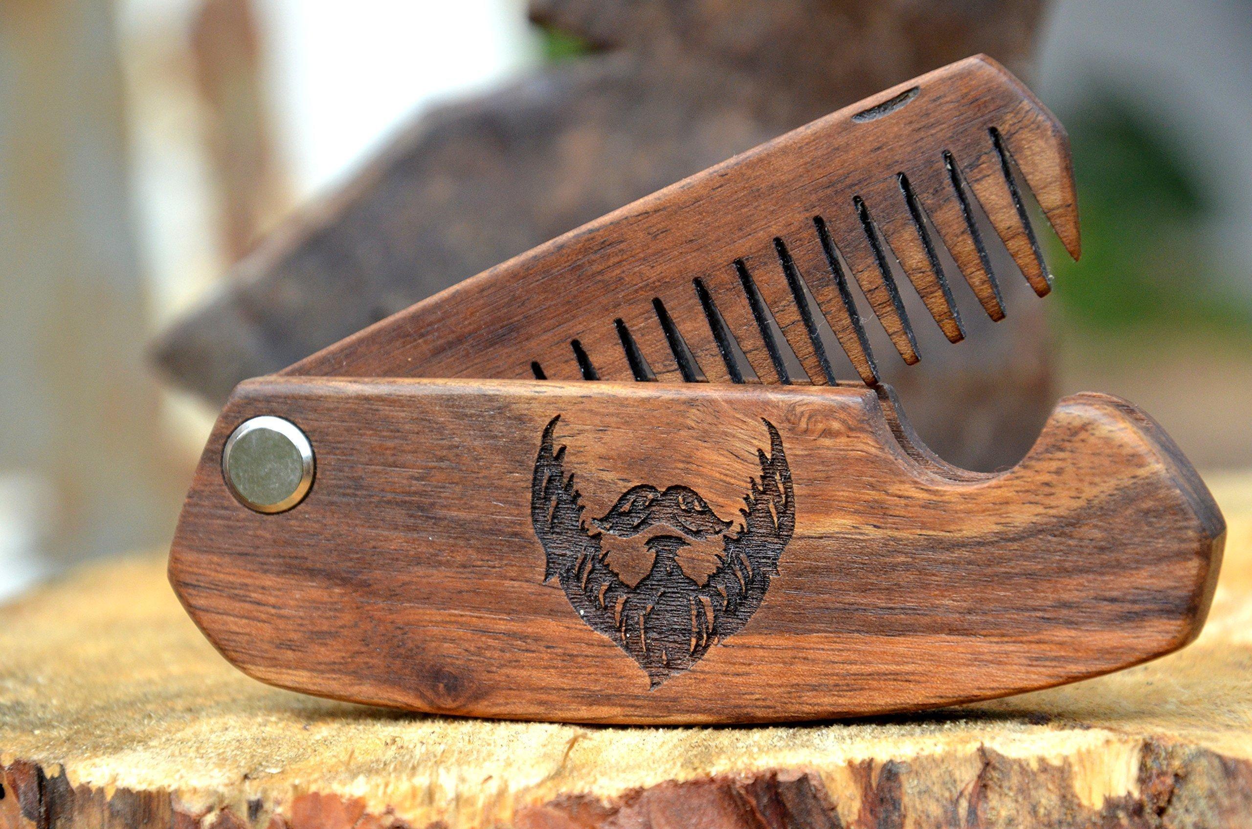 Wooden Folding Comb Man Grooming kit Beard Hair Brush Anniversary Gift for Husband Moustache Walnut