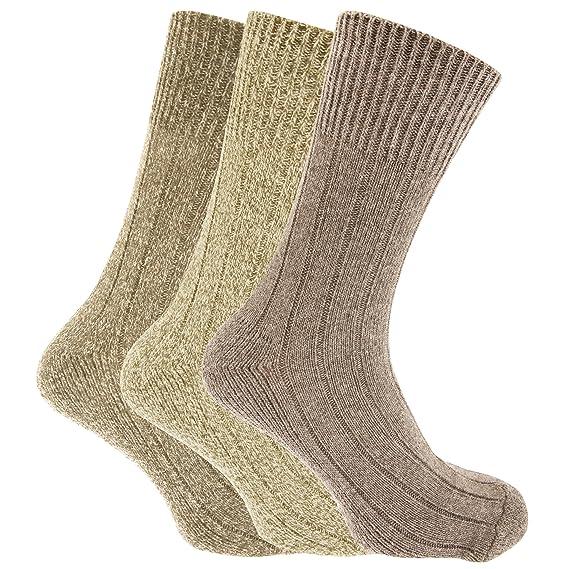 Calcetines lana sin elástico para bota Modelo Chunky Hombre caballero (Pack de 3) (40-45 EU/Tonos de beige): Amazon.es: Ropa y accesorios