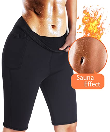 1f80bbe09b TAILONG Women s Weight Loss Pants Hot Slimming Sweat Sauna Neoprene Body  Shapers Capri for Women Exercise