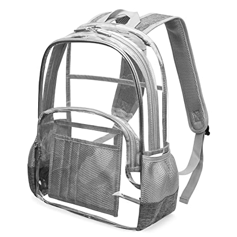 9ce9e8d49ac9 Heavy Duty Clear Backpack for School Stadium Approved Transparent Bookbag  See Through Student Backpack Fits 15