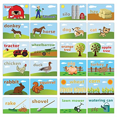 Creanoso On The Farm Flashcards for Children (24-Pack) – Assorted Informational Language Learning Cards – Unique Stocking Stuffers Gifts for Boys & Girls – Teaching Learning Educational Material: Toys & Games