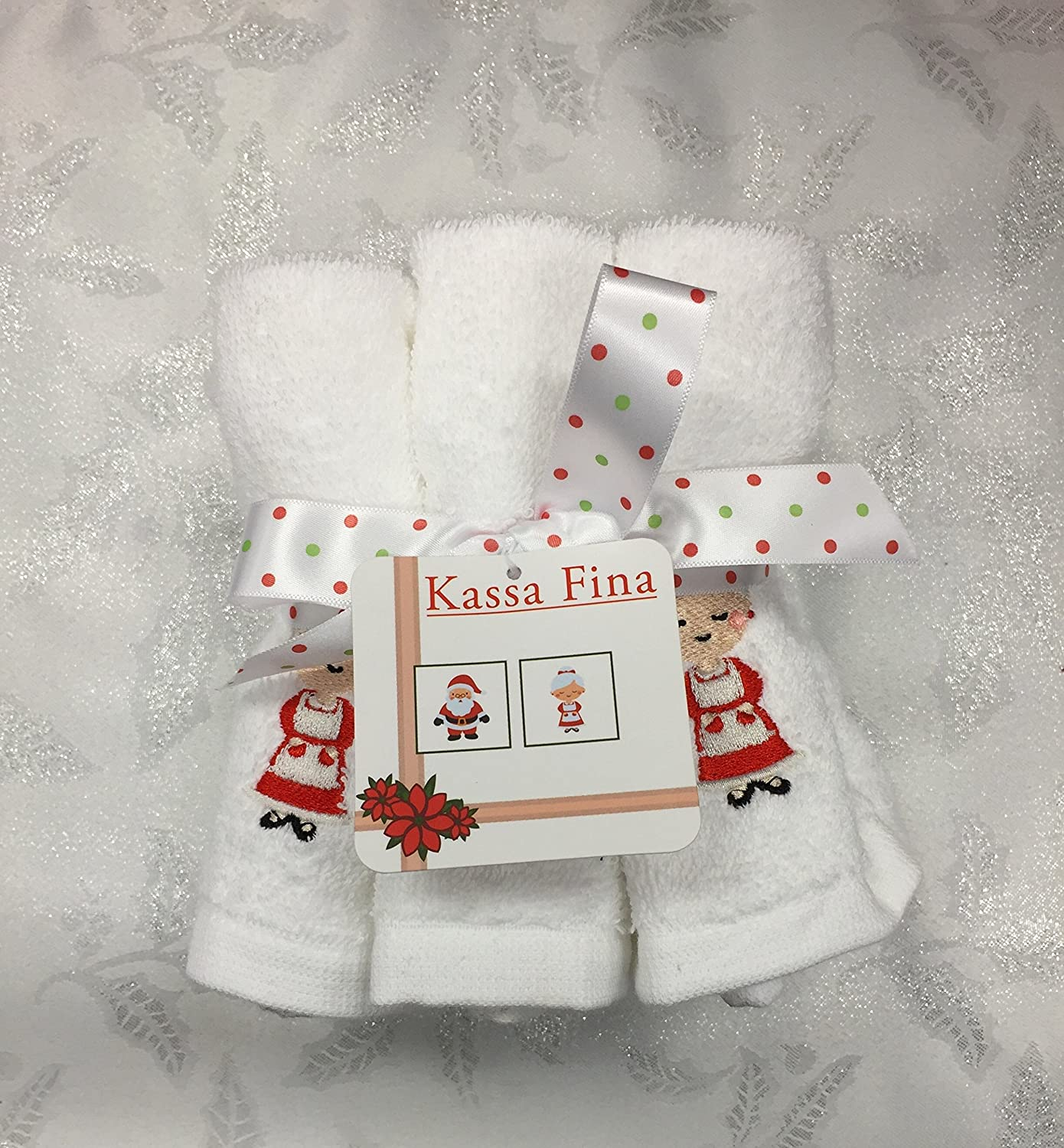 Amazon.com: Kassa Fina Christmas Home Collection Pack of 6 Embellished Wash Towels, Mr. And Mrs. Claus: Home & Kitchen