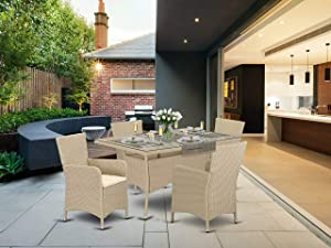 5 pc Back yard Wicker Dining Set for 4 in Cream Finish