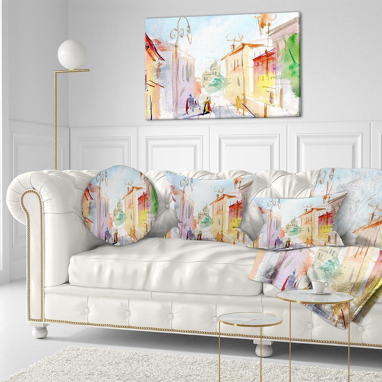 Designart CU7469-12-20 Illustrated Parisian Street Watercolor Cityscape Throw Pillow 12 x 20