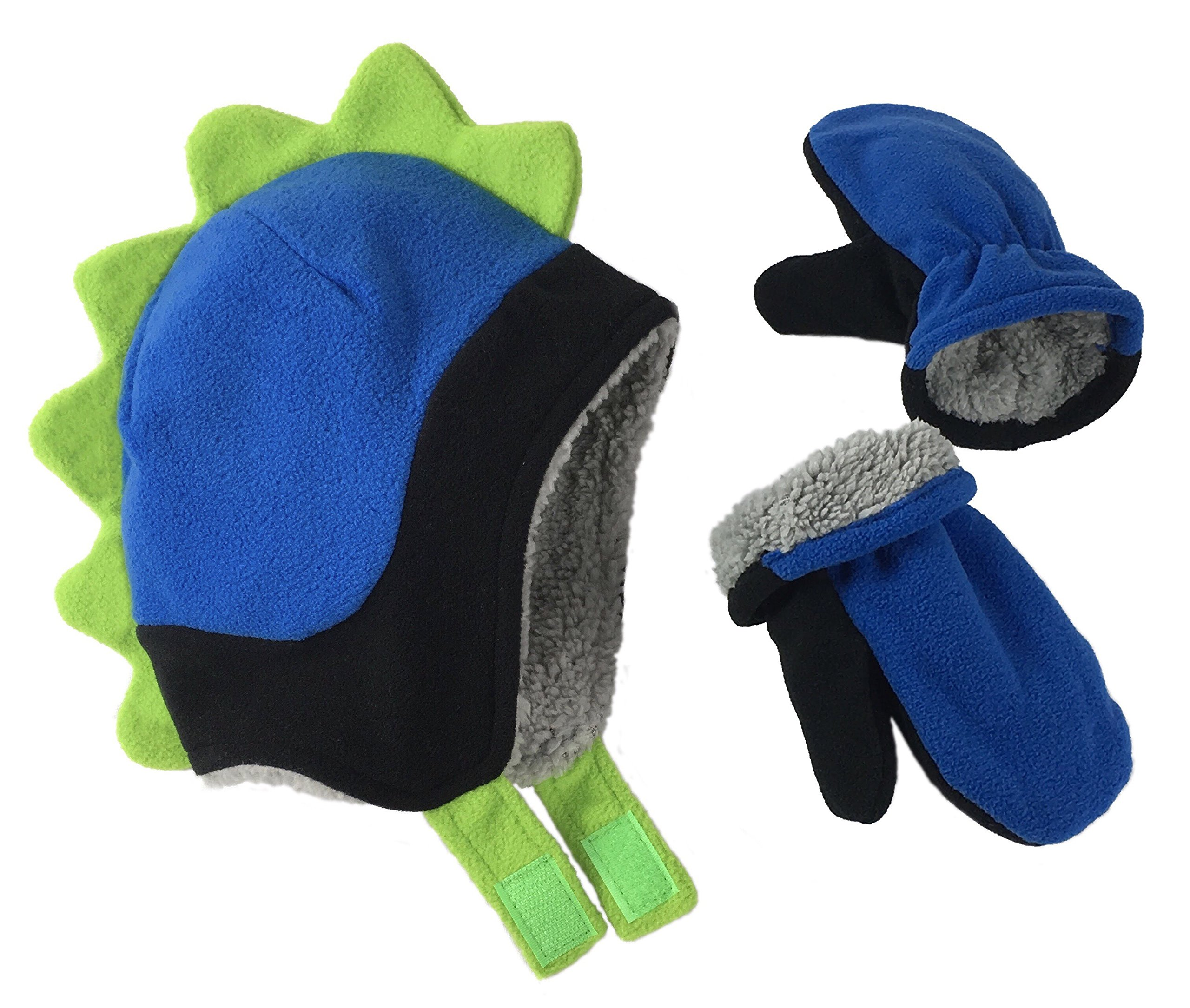N'Ice Caps Little Boys and Baby Soft Sherpa Lined Fleece Dino Hat Mitten Set (18-36mos, Black/Royal/Neon Green)