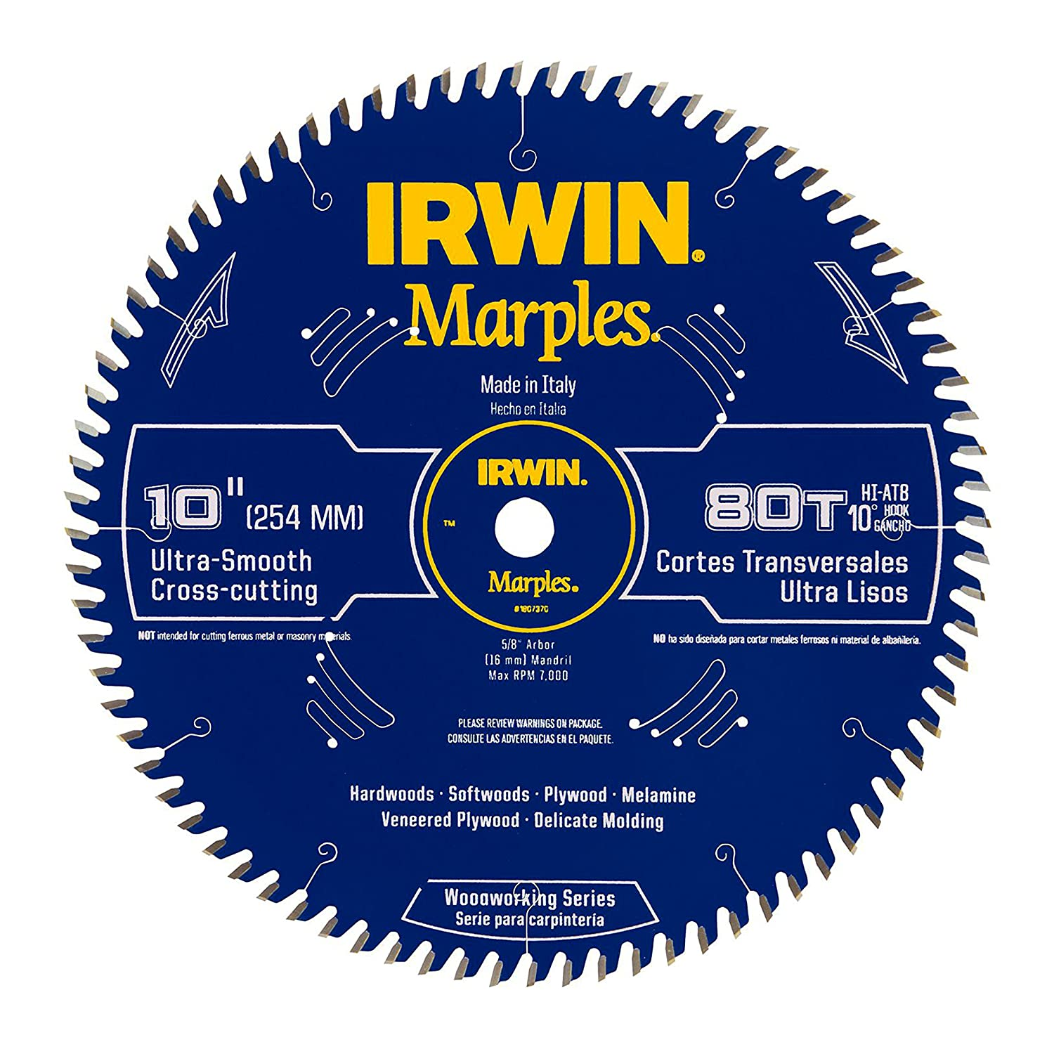 Irwin Tools1807370 Marples Laser Cut 10-Inch 80-Tooth Hi-Alternate Tooth Bevel Circular Saw Blade